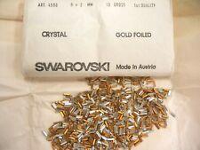 100 swarovski baguette stones,6x2mm crystal/goldfoiled #4500