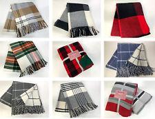 Luxury Cotton Fleece Tartan Check Stripe Blanket Throw Various Designs