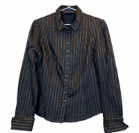 Cue Womens Brown Striped Button Up Long Sleeve Corporate Shirt Blouse Size 10