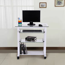 Homcom Computer Workstation Laptop PC Desk Glass Table Stand W/ Wheels