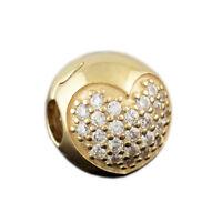 Genuine Pandora Sparkling Pave Heart Clip Charm 14K Gold Vermeil 791053CZ