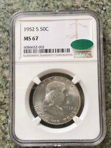 1952 S 50C SILVER FRANKLIN NGC CAC MS67 *TOP POP COLLECTION *FINEST KNOWN!
