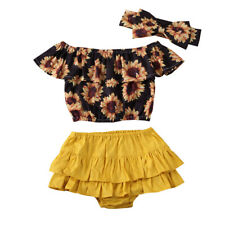 UK Summer Kids Clothes Baby Girls Flower Top+shorts 3pcs outfits set Sunsuit