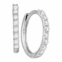 10k White Gold Womens Round Diamond Hoop Fashion Earrings 1/3 Cttw