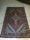 """Genuine Hand Knotted Vintage Persian Area Rug 75"""" x 46.5"""" Deep Mauve and Teal"""
