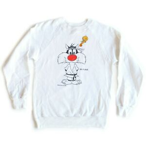 Vintage 80s Sylvester Tweety Six Flags White Crew Neck Pullover Sweater - Yth L