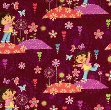 Magenta Nickelodeon Dora The Explore Chasing Butterflies floral Cotton Fabric