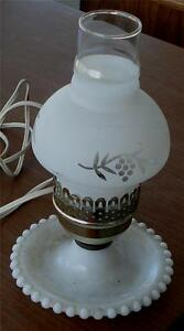 Nice Vintage Milk Glass Hurricane Desk Lamp, Milk Glass Frosted Shade VGC
