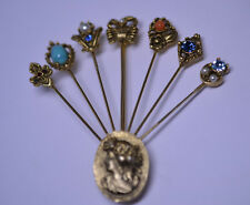 VINTAGE 1980s PIN OF 7 DIFFERENT STICKPINS WITH FAUX STONES & PEARLS