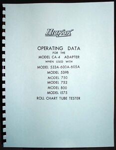 Hickok CA-4 Adapter Data for 539B 750 752 800 1575 533A 600A 605A Tube Testers