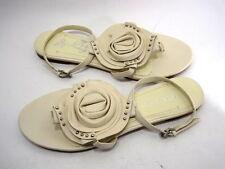 BCBGIRLS WOMEN'S KUTE ANKLE-STRAP FLORAL SANDAL EGGSHELL LEATHER SIZE 9.5 MEDIUM