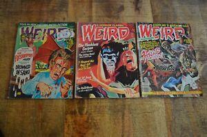 Weird October 1973 June 1976 Sept 1980 Eerie Publications Lot of 3 Comic Books