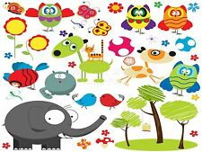 ART PRINT PAINTING CARTOON ANIMALS ELEPHANT OWLS CAT DOG KIDS CHILDREN LFMP0105