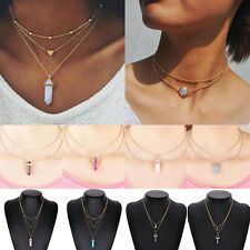 Casual Crystal Opal Natural Stone Heart Pendant Necklace 3 Layer Choker Jewelry