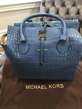 666957ad3503 New Michael Kors Miranda Lg Tote -Rare Blue Genuine Nile Crocodile