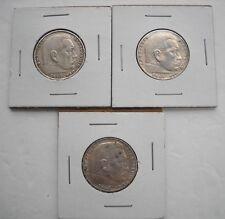 1937, 38, & 39 GERMANY DEUTSCHES REICH, 2 MARK PAUL VON HINDENBURG, SILVER COINS