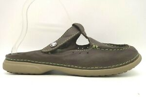Crocs Brown Leather Casual Slip On Moc Toe Loafers Shoes Women's 7