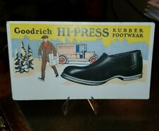 1880s Trade Blotter Card GOODRICH HI-PRESS RUBBER FOOTWEAR EARLY DELIVERY TRUCK