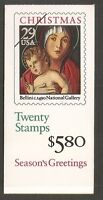 US SC # BK202A Christmas 1992. Plate # 1 Complete Booklet.  MNH