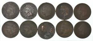 Lot of 10 1800's 1880-1889 Indian Head Penny Cents - US Coin Collection *659