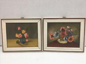 """2 Small Floral Images framed vintage 6"""" x 5"""""""