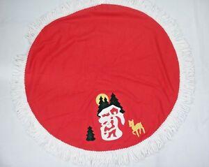 "Vintage Red Christmas Centerpiece 33"" Round Santa Reindeer Applique Yarn Fringe"