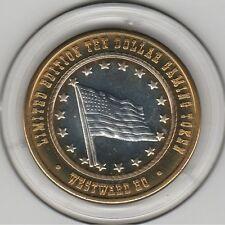 2002 Westward Ho American Flag .999 Fine Silver Strike $10 Casino Gaming Token