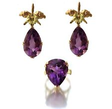 Antique Amethyst and 18k Yellow Gold Earring and Ring Set J19957