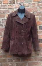 Ladies Leather/Suede Coat, By GUESS, Size M Brown, 100% Suede Long Length, VGC.