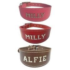 Personalised  Pink Red Brown Leather Designer Whippet Collar