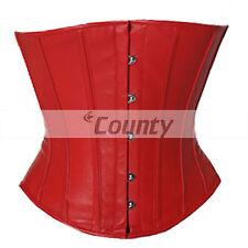 Corset Underbust rojo cuero verdadero Completo Acero deshuesado Espiral Vasco cordones Shaper