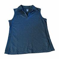 IZOD GOLF Ladies Sleeveless Collar Polo Shirt Medium Black Pullover V Neck NWOT