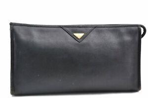 Authentic YVES SAINT LAURENT Clutch Bag Leather Black E0563