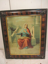 VINTAGE RELIGIOUS VIRGIN MARY HOLDING SWORD TIGER WOOD FRAME