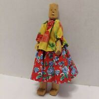 """7"""" Handmade Carved Wooden Doll w/ Fabric Clothes"""
