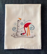 Build A Flamingo Snowpal For Your Christmas Day Embroidered Kitchen Towel