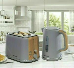 Daewoo Stockholm 2 Slice Toaster & Cordless Kettle Set Matte Grey & Wood Finish