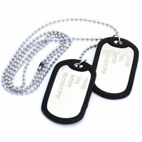 Necklace chain pendant 2 plate identity Dog Tag alloy fashion military men R4Q6