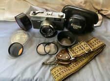 Canon Canonet Ql19 Rangefinder Film Camera 45mm 1.9 Lens Case Strap Filters Hood