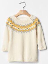 GAP Baby Girls Size 6-12 Months Ivory / Yellow / Silver Fair Isle Sweater Dress