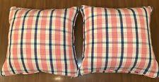RALPH LAUREN 20x20 Throw Bed Accent Pillow Pink Blue Zip Zipper