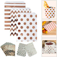 25pc Candy Gift Bags Rose Gold Spot Stripe Paper Pouches Party Weddings Birthday