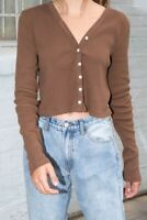brandy melville brown ribbed light weight button up Paige top NWT sz S