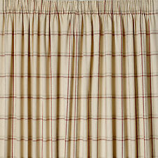 """LAURA ASHLEY - Corby Check Cranberry pencil pleat curtains W64"""" x L54"""" NEW"""