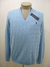 Polo Ralph Lauren Pony XL Mens 100% Silk Sweater V-Neck Knit Cable Blue Jacket