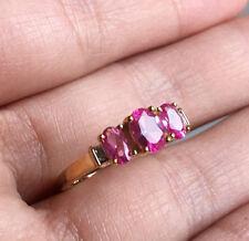 10k Yellow Gold Pink Sapphire Three Stone Wedding Engagement Ring