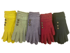 New Ladies Warm Thick Lined RRP £9.99 Finger Knitted Button Detail Winter Gloves
