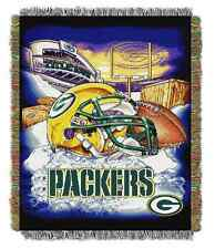 GREEN BAY PACKERS Woven THROW BLANKET Tapestry NFL Helmet Themed 48 x 60 Game