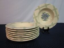 Set of 8 Pfaltzgraff Large Rimmed Soup Bowls. Garden Party. Un-Used. MINT. USA.