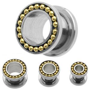 PAIR-Chain Gold On Steel Screw On Ear Tunnels 06mm/2 Gauge Body Jewelry